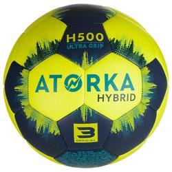 Balón de balonmano H500 T3 amarillo / azul marino