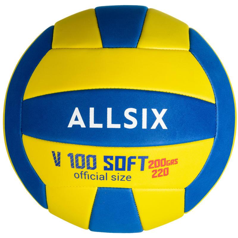 Balón de voleibol V100 SOFT 200-220 g amarillo y azul para 6-9 años