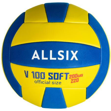 """Mīksta volejb. bumba """"V100"""" 6–9 g. veciem spēlētājiem, 200–220 g, dzeltena/zila"""