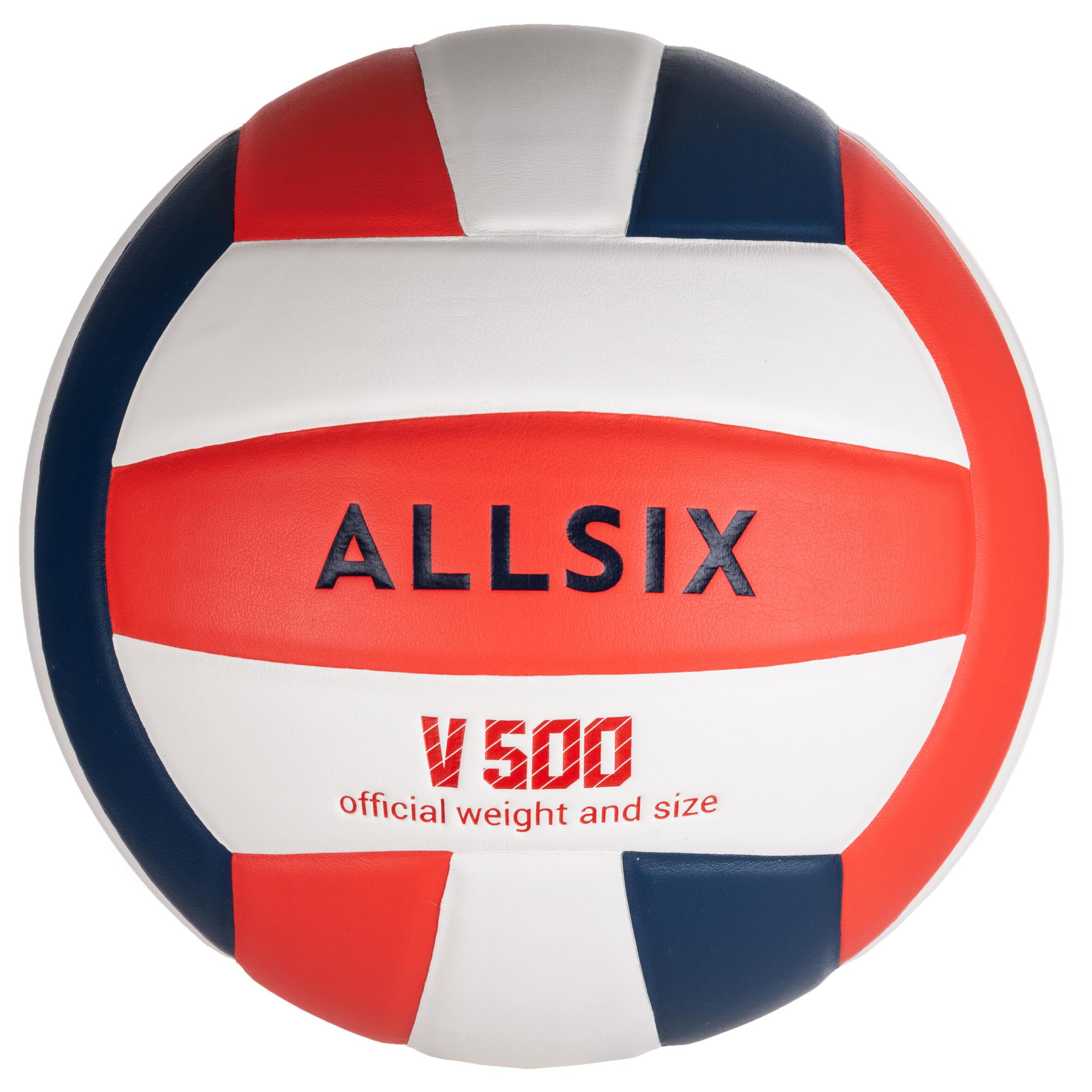 Ballon de volley-ball V500 blanc, bleu et rouge