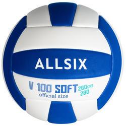 Balón de voleibol V100 SOFT 260-280 g blanco y azul a partir de 15 años