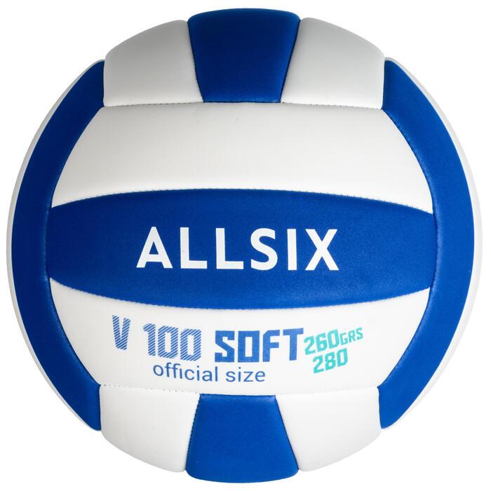 Ballon de volley-ball V100 SOFT 260-280g blanc et bleu à partir de 15 ans