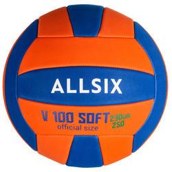 Balón de voleibol V100 SOFT 230-250 g naranja azul para los 10-14 años ALLSIX