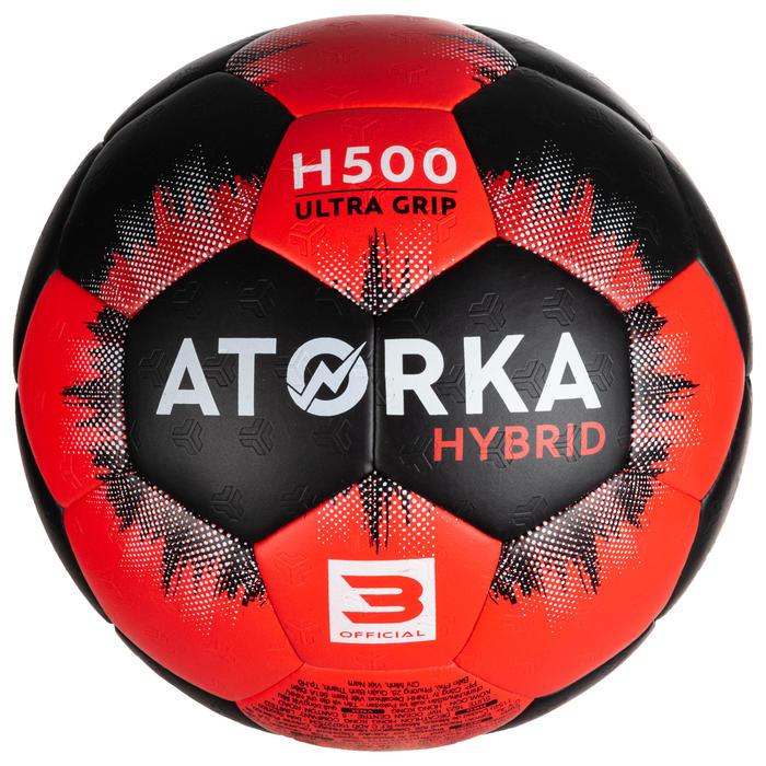 Ballon de handball H500 T3 noir/rouge