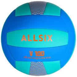 Ballon de volley-ball V100 d'initiation bleu et vert