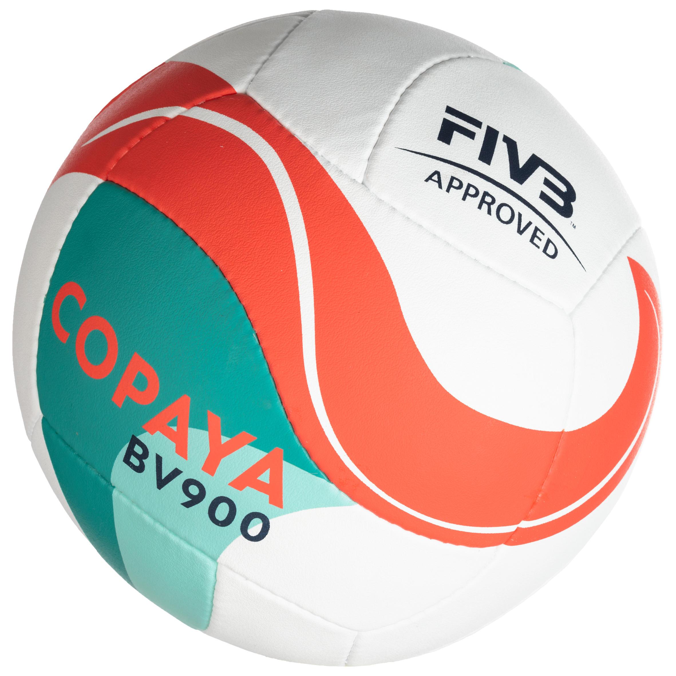 Ballon de volleyball de plage VP900 FIVB blanc vert et rouge
