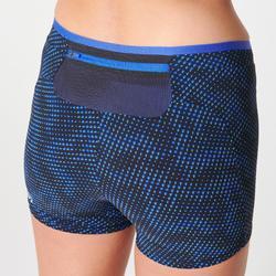Korte hardloopshort dames Kiprun blauw print