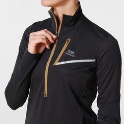 Maillot veste softshell manches longues trail noir bronze femme