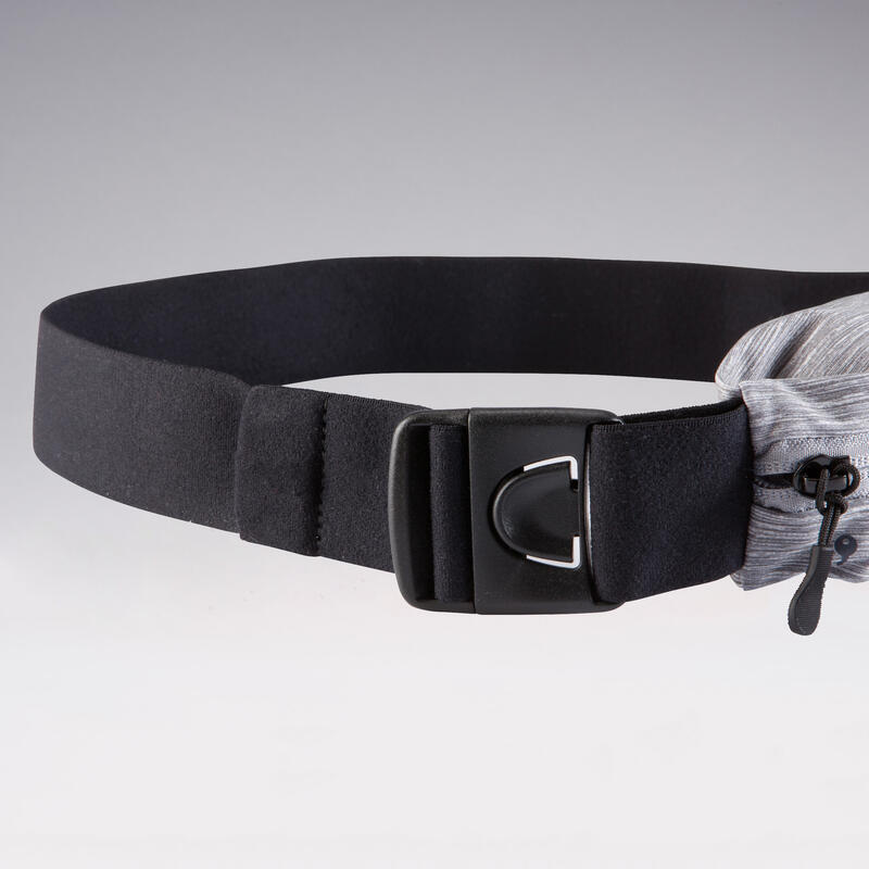 Adjustable running belt for any size of smartphone and keys - grey