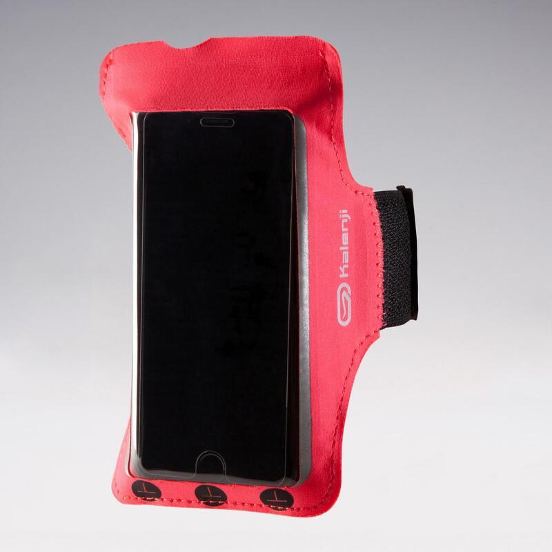 Hardloop armband voor smartphone fluo koraalroze