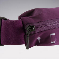 Adjustable running belt for any size of smartphone and keys - plum