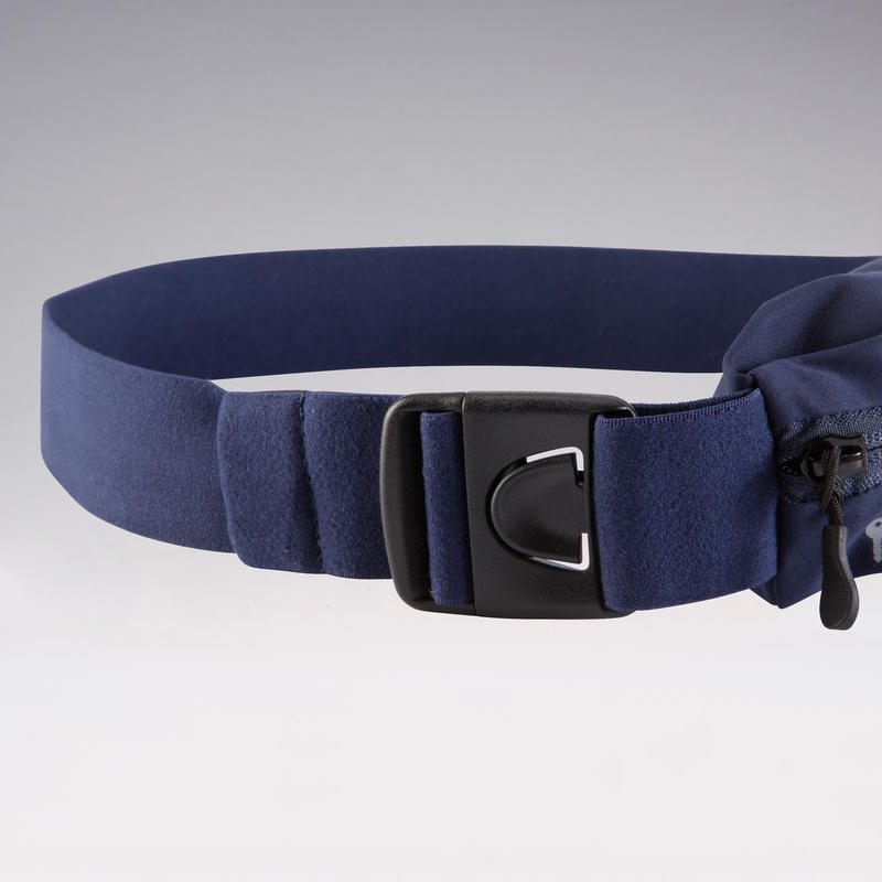 Adjustable running belt for any size of smartphone and keys - navy blue