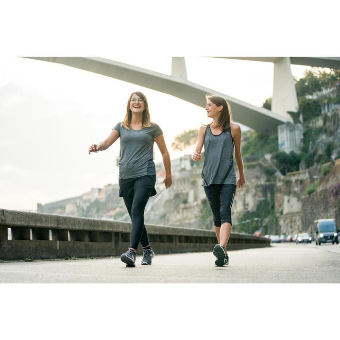 Leren damessneakers voor sportief wandelen HW 540 donkergrijs