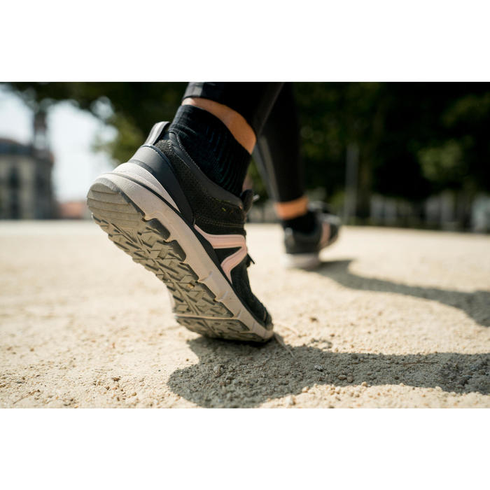 db4096ad7e4 Leren damessneakers voor sportief wandelen HW 540 donkergrijs