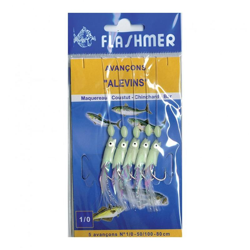 Phosphorescent fry 5 hook sea fishing leader