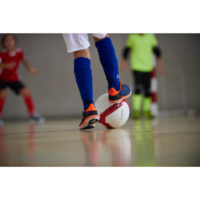 Hallenschuhe Futsal Fussball Eskudo 500 Kinder dunkelblau
