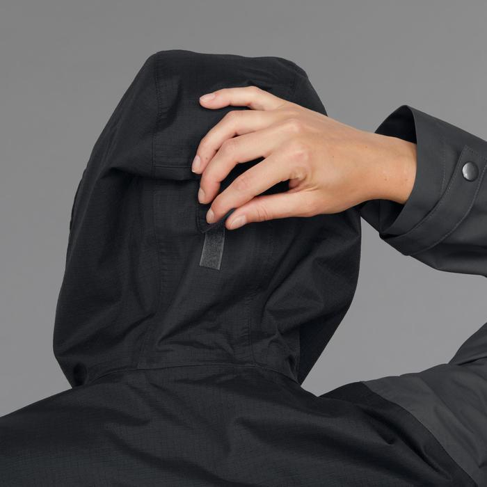 Waterdichte 3-in-1 jas voor backpacken dames Travel 100 comfort 0°C donkergrijs