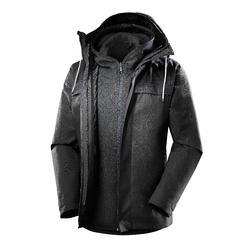 Abrigo Chaqueta Montaña y Trekking viaje Forclaz TRAVEL100 3en1 Hombre gris