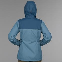 Abrigo Chaqueta Montaña y Trekking viaje Forclaz TRAVEL100 3en1 mujer azul