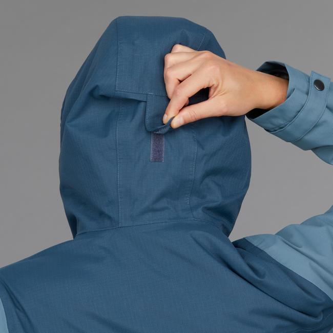 Women's blue 3 in 1 trekking travel jacket TRAVEL 100