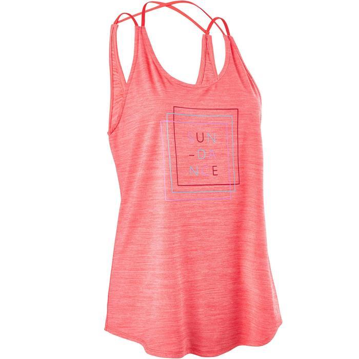 Damestop met gekruiste bandjes voor dans-workouts roze
