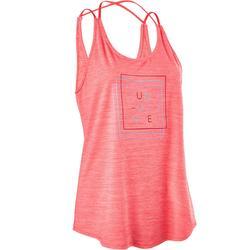 Camiseta sin mangas de danza fitness con tirantes cruzados mujer rosa
