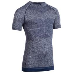 Tee shirt manche courte compression musculation homme bleu