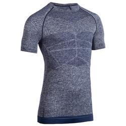 Camiseta manga corta compresión hombre musculación azul