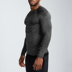 Camiseta manga larga compresión musculación domyos negro