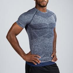 Camiseta manga corta compresión musculación DOMYOS hombre azul