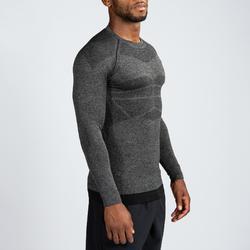 Fitness compressie shirt voor heren, lange mouwen, zwart