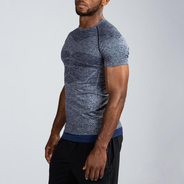 Compressie T-shirt met korte mouwen krachttraining heren blauw