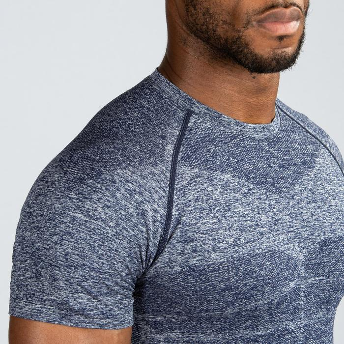 Fitness compressie shirt voor heren, blauw/grijs
