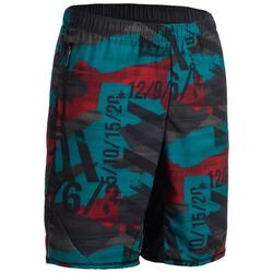 Short 500 homme rouge/bleu pour cross training