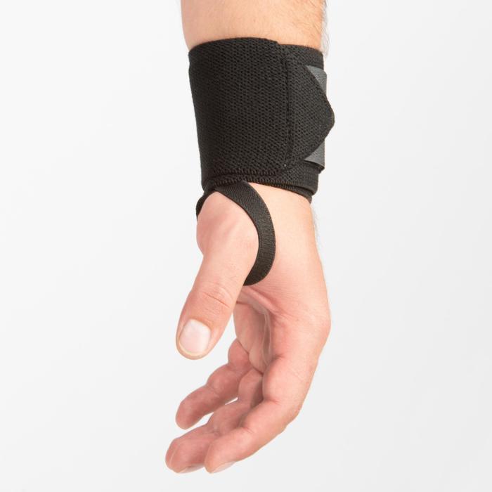 Handgelenk-Stützbandagen Krafttraining Klettverschluss grau