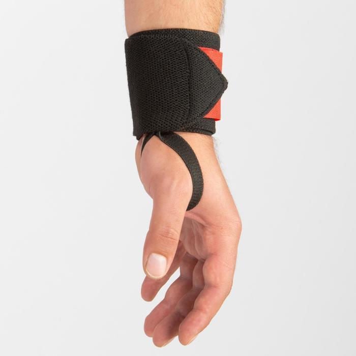 Muñequera Protección Musculación Domyos Negro/Rojo Intenso