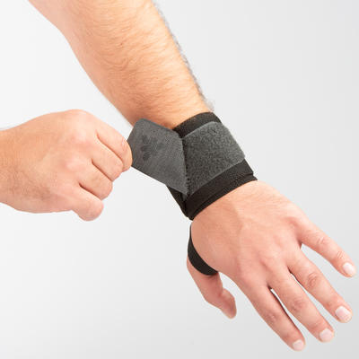 Weight Training Wrist Support And Protection Wraps Velcro Fastening - Grey
