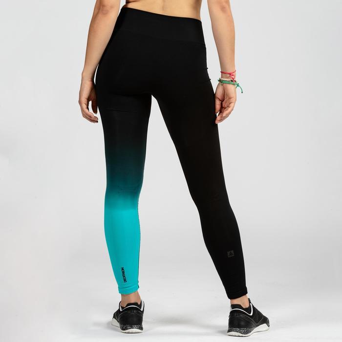 Fitness legging crosstraining voor dames 900, zwart/blauw