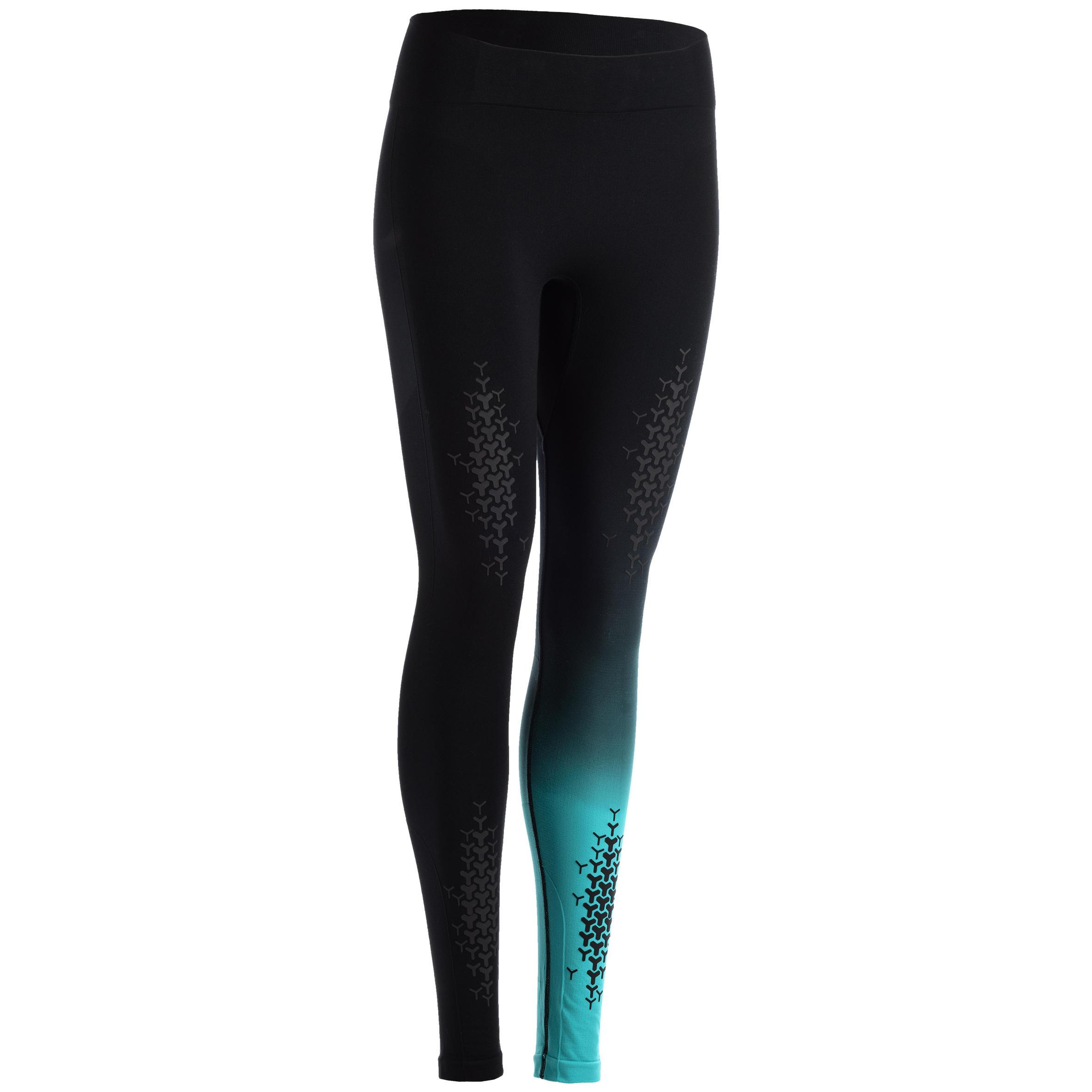 Domyos Legging crosstraining 900 dames, zwart/blauw
