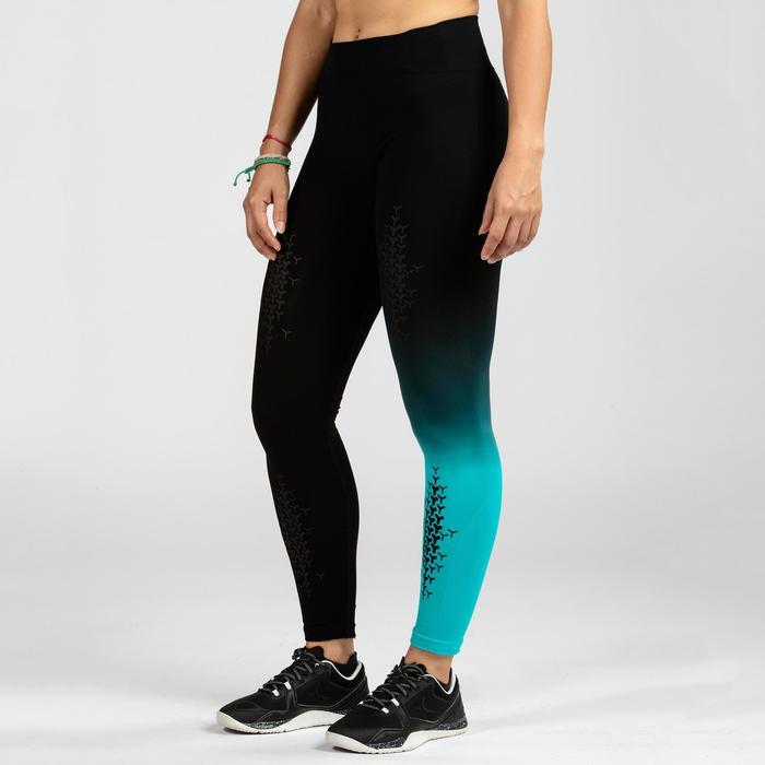 Leggings Crosstraining 900 Seamless Damen schwarz/blau