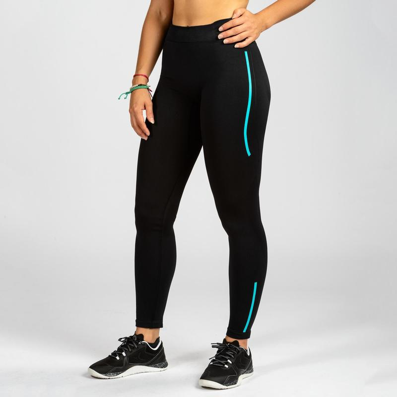 46bae28e0331e 500 Women's Cross-Training Leggings - Black/Blue | Domyos by Decathlon