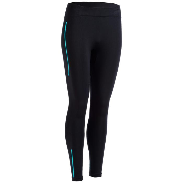 Leggings Cross 500 Seamless Damen schwarz/blau