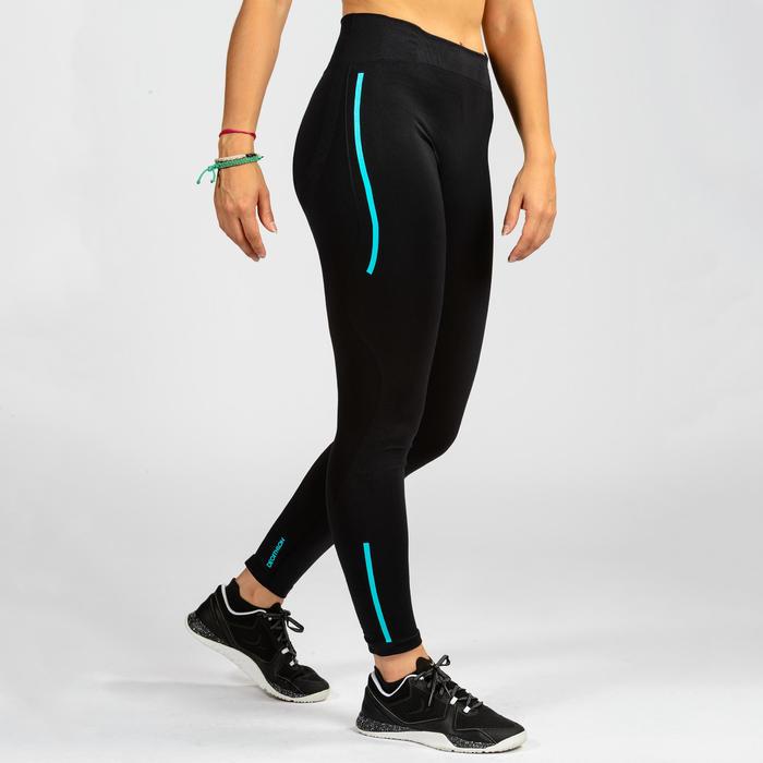 Leggings Cross 500 Seamless Damen schwarz/blau
