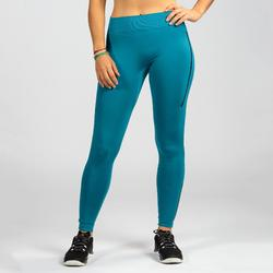 Leggings Cross 500 Seamless Damen blau/schwarz
