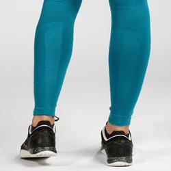 Leggings Cross 500 Seamless Damen blau/schwarz