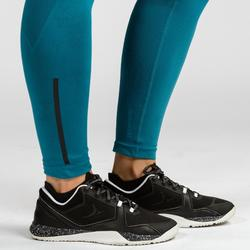 LEGGINGS SEAMLESS CROSSTRAINING 500 FEMME BLEU/NOIR