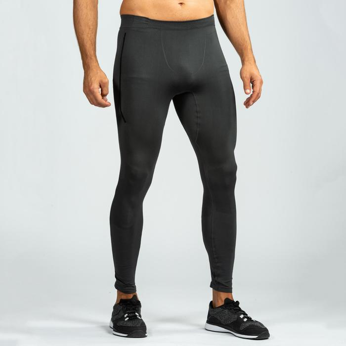 LEGGINGS SEAMLESS CROSSTRAINING 500 HOMME GRIS/NOIR