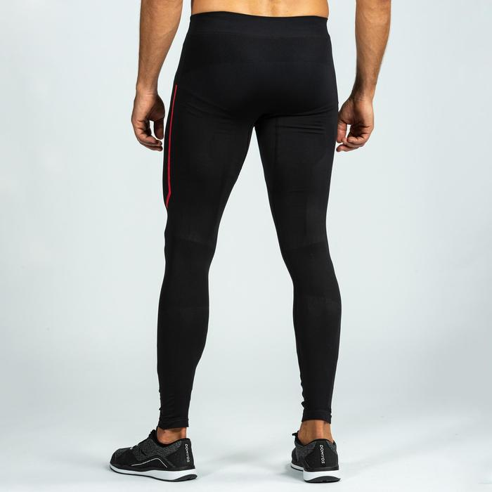 Legging 500 homme pour cross training noir/rouge