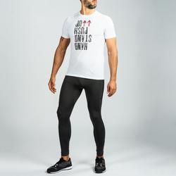 Legging 500 homme pour cross training gris/rouge