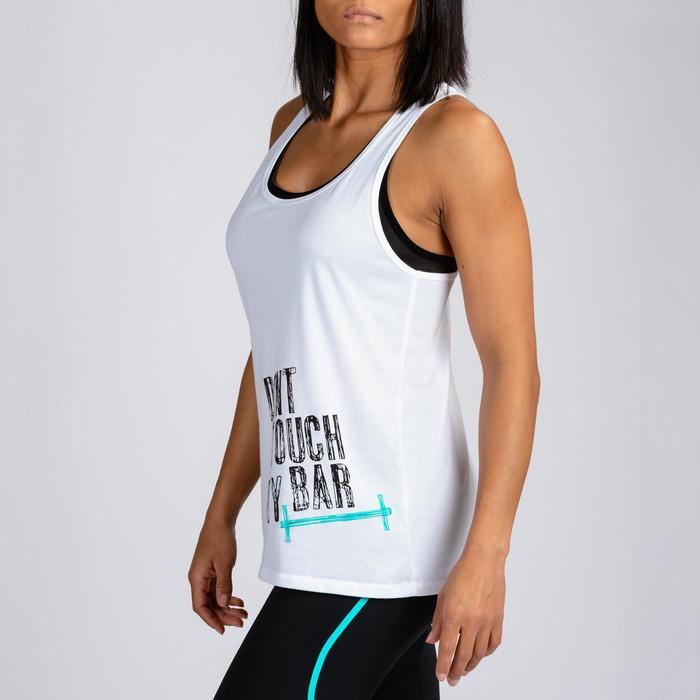 Camiseta Sin Mangas Tirantes Cross Training Musculación Domyos Mujer Blanco